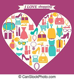 colorful shopping icons in heart shape. I love shopping