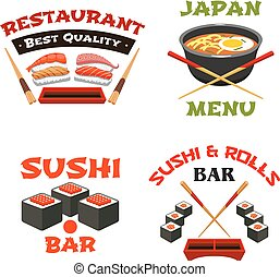 Vector icons template of Japanese sushi restaurant -...