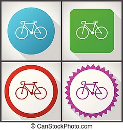 Vector icons with 4 options. Bicycle flat design icon set...