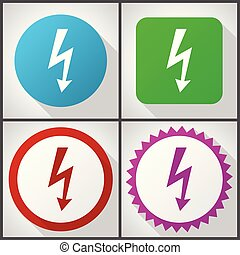 Vector icons with 4 options. Bolt flat design icon set easy to edit in eps 10.