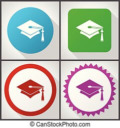 Vector icons with 4 options. Education flat design icon set easy to edit in eps 10.
