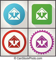 Vector icons with 4 options. Email flat design icon set easy to edit in eps 10.
