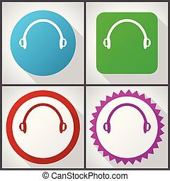 Vector icons with 4 options. Headphones flat design icon set...