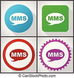 Vector icons with 4 options. Mms flat design icon set easy...