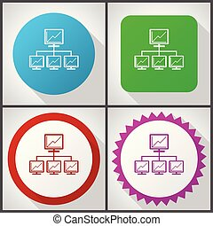 Vector icons with 4 options. Network flat design icon set easy to edit in eps 10.