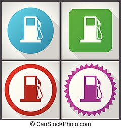 Vector icons with 4 options. Petrol flat design icon set easy to edit in eps 10.