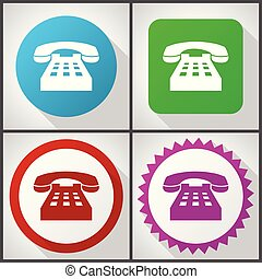Vector icons with 4 options. Phone flat design icon set easy to edit in eps 10.