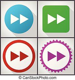 Vector icons with 4 options. Rewind flat design icon set easy to edit in eps 10.