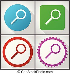 Vector icons with 4 options. Search flat design icon set easy to edit in eps 10.