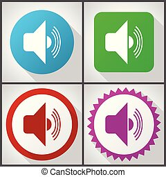 Vector icons with 4 options. Volume flat design icon set easy to edit in eps 10.