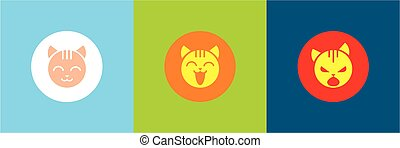 Vector icons with the emotions of the cat