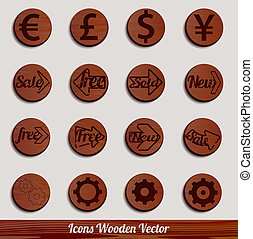 Vector icons wooden set