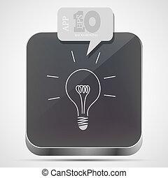 Vector idea app icon with gray bubble speech. Eps10
