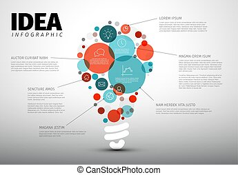 Vector idea Infographic template - circles with some content in the bulb shape