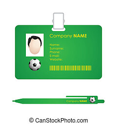 vector identification card template and pen