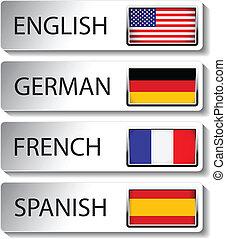 vector, idioma, indicador, para, tela