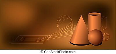 Vector igeometrical illustration with figures on the brown background