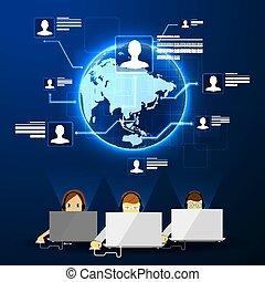call center support - Vector iilyustratsiya call center...