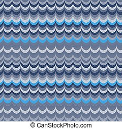 Vector ikat wave blue seamless pattern