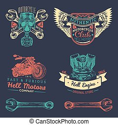 Vector iker club logos set. Motorcycle repair signs. Retro hand sketched garage labels. Custom chopper store emblems.
