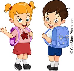 Happy school boy and girl with backpack