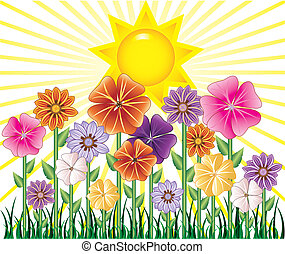 Vector illstration of a Spring Day with Sunshine and Flower Garden with grass.