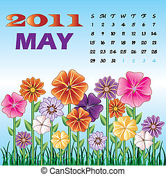 Spring May 2011 Flower Garden - Vector illstration of a...