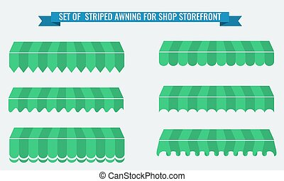 Vector illsutration set of striped awnings with flat color