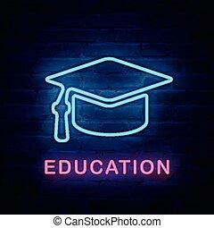 Vector illuminated neon light icon sign education graduation cap