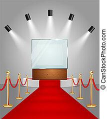 Vector illuminated podium with red carpet and showcase