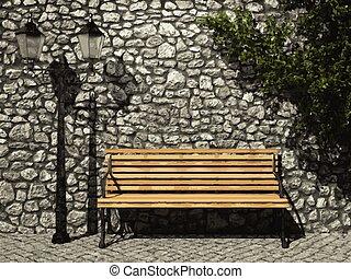 vector illuminated stone wall and ivy