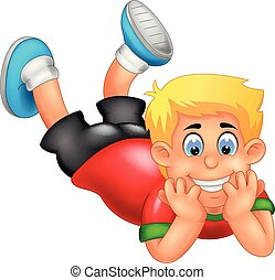 vector illusration of cute boy cartoon face down with laughing