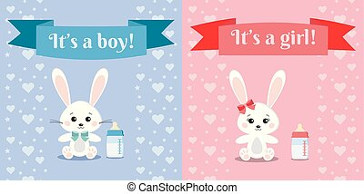 Vector illusrtation with cute and sweet bunny boy and girl rabbits and baby bottle.
