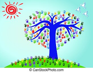 Vector Illustraion of an Abstract Tree with Colorful Hand Prints