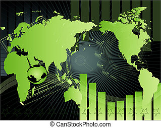 background with map - Vector illustrated background with map...