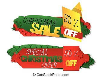 Christmas sale vector banners with shadows