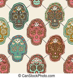 Vector Illustrated Mexican Skull Seamless Pattern Design