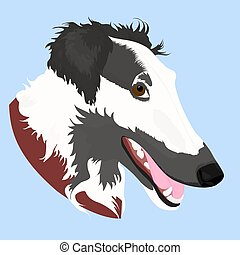 Vector Illustrated portrait of Borzoi dog. Cute face of Russian wolfhound domestic dog on blue background.
