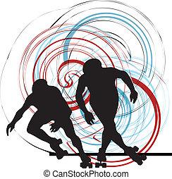 vector, illustrati, silueta, patinador