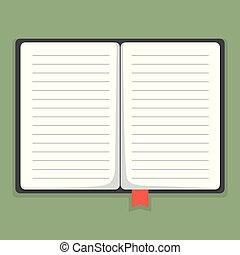vector, illustratie, aantekenboekje