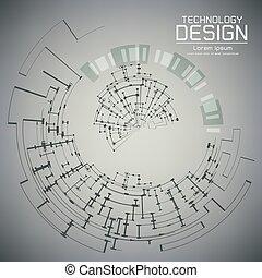 vector, illustratie, abstract, futuristisch, oogappel, op, circuit plank