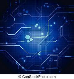 vector, illustratie, achtergrond, plank, circuit, technologie