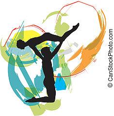 vector, illustratie, ballet