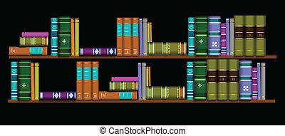 vector, illustratie, boekenplank, bibliotheek
