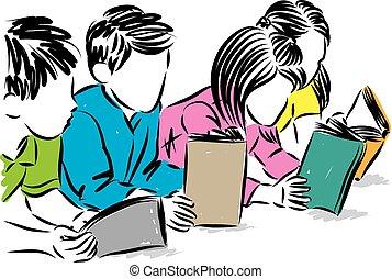 vector, illustratie, boekjes , kinderen, concept, lezende , opleiding