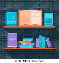 vector, illustratie, bookshelf.