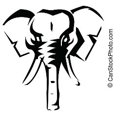 vector, illustratie, elefant