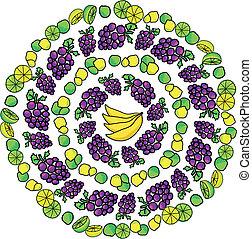vector, illustratie, fruit, model
