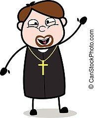 vector, -, illustratie, gezicht, priester, gebaar, hoi, religieus, het glimlachen, spotprent