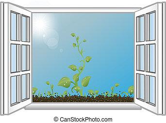 vector, illustratie, groene, spruiten, in, een, open venster